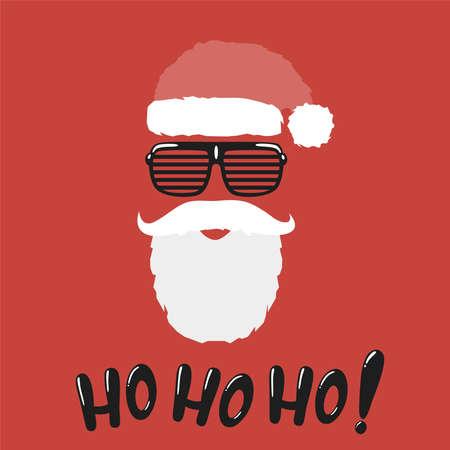 Santa hat and beard with hohoho message.Vector hohoho phrase illustration from christmas collection. Illustration