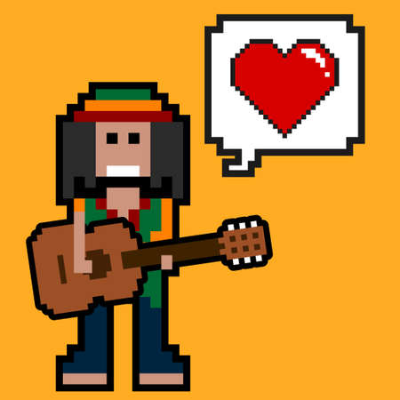 Rastafarian guitarist singing love song.Vector guitarist illustration from pixel musician people collection.