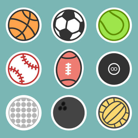Sport balls sticker collection.Vector illustration of sport ball icons with sticker concept.