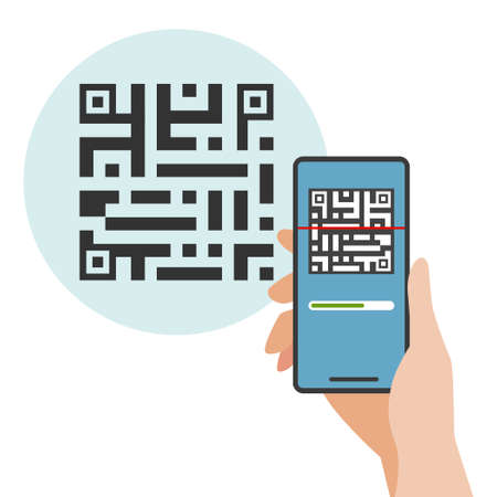 Scan QR code to smartphone. Vector illustration of scan QR code with mobile phone.