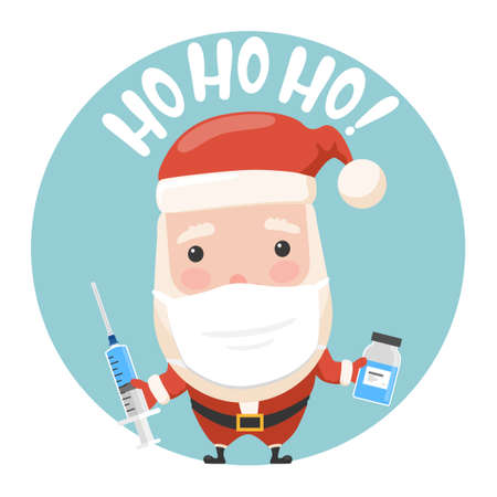 Santa cartoon with syringe injector and vaccine bottle.Vector illustration of cartoon santa from new year collection. Illustration