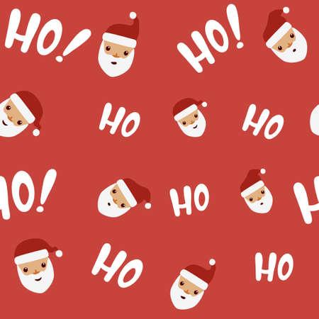 Santa with hohoho phrase pattern.Vector illustration of seamless christmas pattern background. Illustration