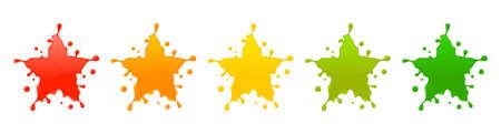 Splash star rating system.Vector illustration of feedback icons with splash concept. Illustration
