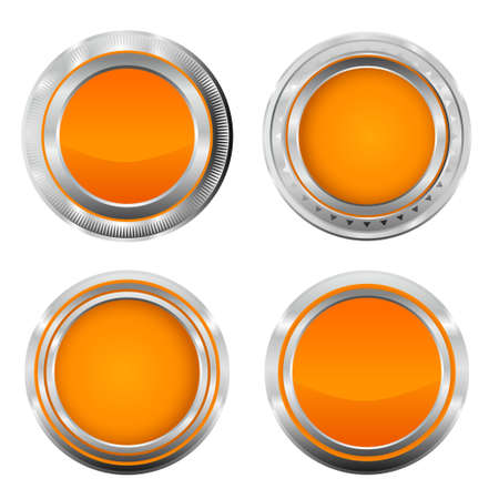 Realistic metallic orange badge buttons. Vector metallic button illustration from button series.