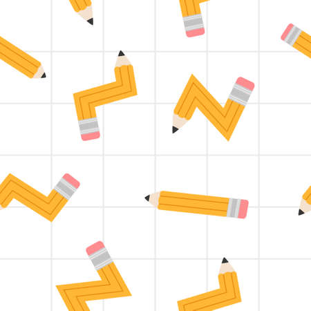 Vector seamless school pencil pattern background.