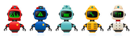 Smart robots with professions.Vector illustration of flying robots occupation.