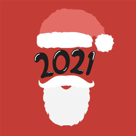 Vector santa hat and beard with 2021 lettering illustration.