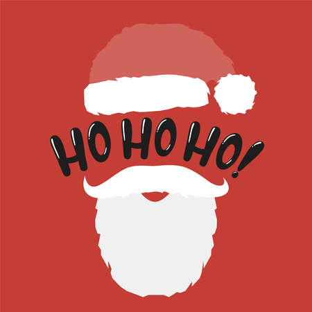 Santa hat and beard with christmas concept.Vector hohoho phrase illustration from christmas collection.