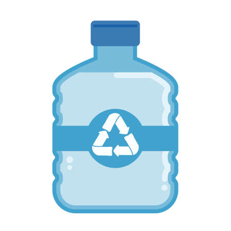 Vector flat plastic water bottle carboy with recycle symbol.Plastic carboy illustration with recycle symbol.