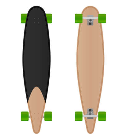 Vector speedboard longboard isolated on white background.Longboard illustration from skateboard and longboard collection.