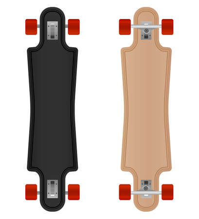 Vector freeride longboard isolated on white background.Longboard illustration from skateboard and longboard collection.