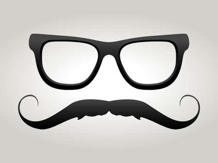 Vector black mustache with glasses illustration.