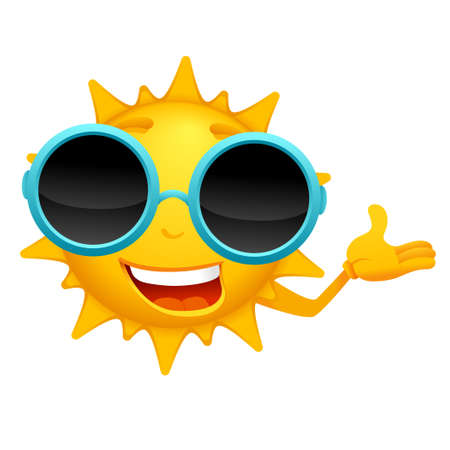 Sun cartoon character with circle sunglasses.Vector cartoon sun illustration from cartoon sun character series.