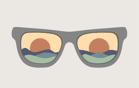 Sunglasses with summer concept.Vector illustration of summer sunglasses with trendy modern abstract shapes.