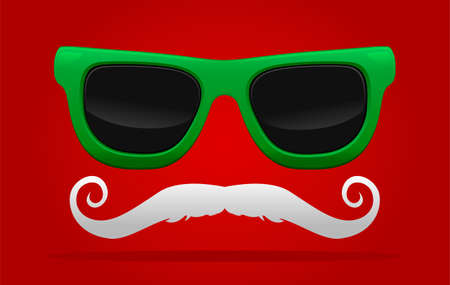 Vector new year sunglasses with curved mustache.Vector illustration of santa accessory concept. Illustration