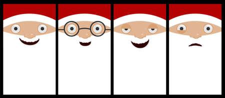 Vector cartoon santa face emotion collection.Cartoon santa characters with vertical design concept.
