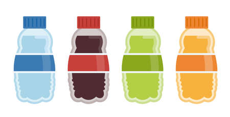 Vector plastic beverage bottle icons.Vector colorful bottle illustrations from beverage collection.