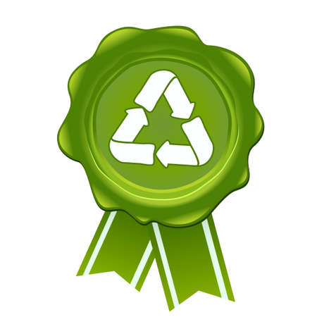 Vector recycle symbol with wax symbol.Green wax seal illustration with recycle nature concept.