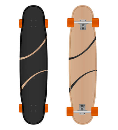 Vector boardwalking longboard isolated on white background.Longboard illustration from skateboard and longboard collection.