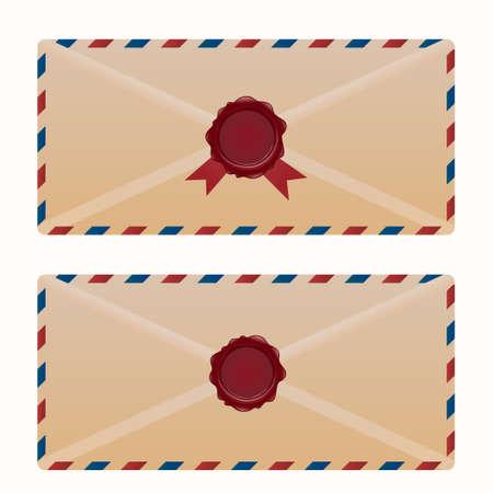 Vintage envelope with wax seal.Vector illustration of vintage mail designs.
