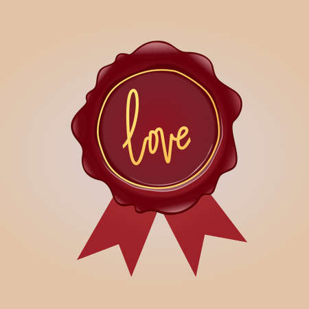 Vintage wax seal with love sign.Vector illustration of vintage love mail concept design.