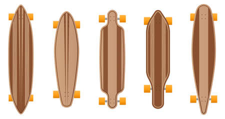 Vector wooden longboard style set.Skateboard illustration from skateboard and longboard collection.