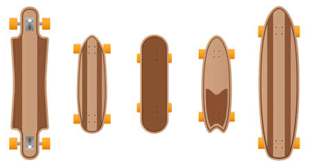 Vector wooden skateboard set.Skateboard illustration from skateboard and longboard collection.