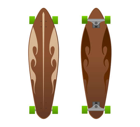 Vector wooden longboard with fire flame design.Vector wooden long board illustration from longboards collection.