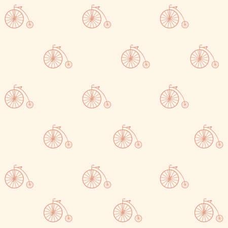 Vintage bicycle seamless pattern background.Vector vintage bicycle pattern from retro bicycle collection.