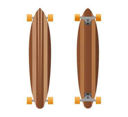 Vector wooden long board illustration from longboards collection.