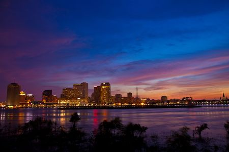 New Orleans Downtown on July 4th from west bank of Mississippi river