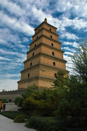 clowds: Great Wild Goose Pagoda is ancient buddhist monument (Xian, China).