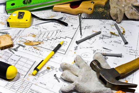 workbench: Busy hobby workbench.  Stock Photo