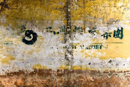 multiple stains: Random yellow, orange, white, brown and green grunge background with multiple layesrs, stains, cracks and symbols.