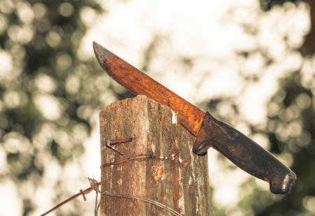 Rusty knife stuck on a wooden board surrounded by iron wires.