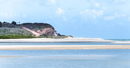 orla: Sandbanks in the middle of the sea on the beach of Joao Pessoa PB, Brazil.