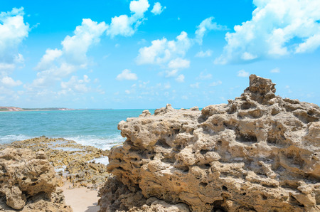 Rocks pierced by the waves of the sea. Holes in the rocks caused by the impact with waves of the sea. Beach of Joao Pessoa PB, Brazil.