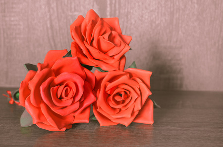Decorative red roses handmade for decorative use. Stock Photo