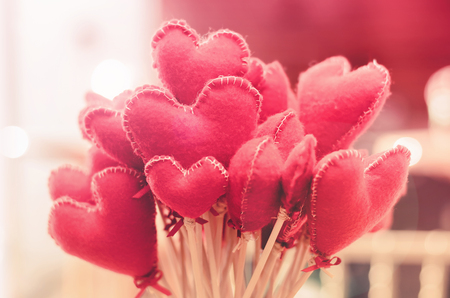 Bouquet of heart-shaped flowers. Love background for valentines day, mothers day or express love. Stock Photo