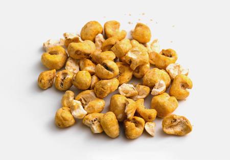Caramelized popcorn. Sweet popcorn isolated on white.