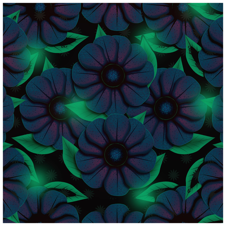 Dark blue flowers background. Surreal illustration concept, dark flowers with green leaves, red tones illumination and green glow on leaves.
