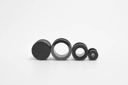 Black ear stretchers: ear tunnels and plug on white background. Varied types, and sizes. Foto de archivo