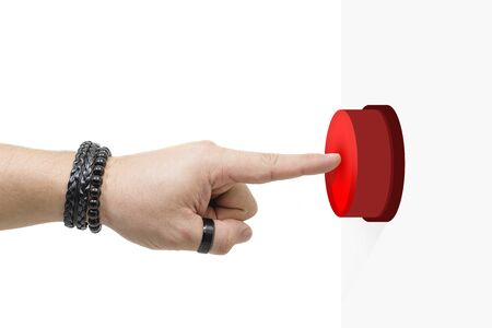 Finger pressing a red button. Press the emergency button. White background.