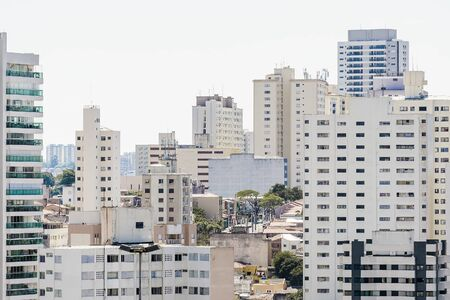 High density urban area of a big urban centre during the day. Buildings of the central region of Sao Paulo SP Brazil. Stok Fotoğraf