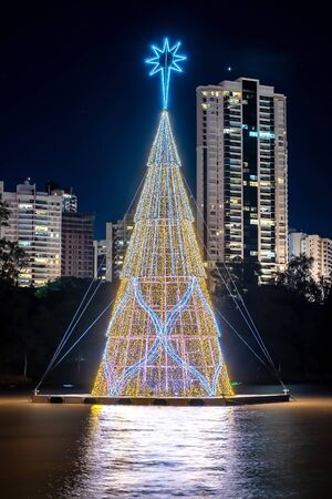 Christmas tree floating on the water of a lake and the buildings of the city on the background. Tall tree made of christmas lights. Photo at night of the Igapo lake, Londrina PR Brazil. Banco de Imagens