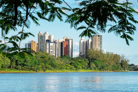 View of a city lake through the tree leaves. Lake surrounded by nature and few buildings on the background. Photo of the Igapo lake, Londrina PR Brazil. 版權商用圖片