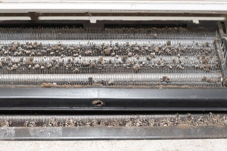 Dirty split air conditioner with dust and fungus. Close-up on a air conditioner that needs cleaning. 版權商用圖片