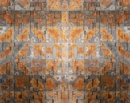 Concrete wall made of tiles with a rusty iron texture. 版權商用圖片