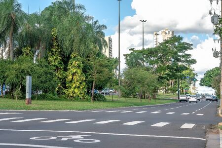 One way avenue with four lanes, large wooded avenue with few traffic of cars. Afonso Pena avenue at Campo Grande MS, Brazil.