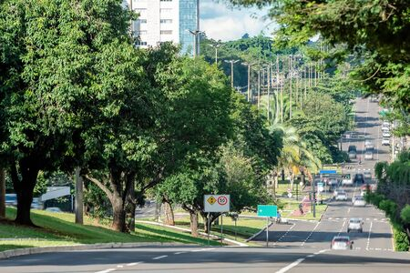 Low traffic of cars on a large avenue surrounded by big green trees of a wooded city. Photo taken at Afonso Pena avenue, Campo Grande - MS, Brazil. 版權商用圖片